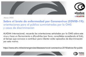Orientaciones de la OMS ante el Coronavirus